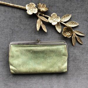 HOBO classic Lauren big Wallet in seafoam green